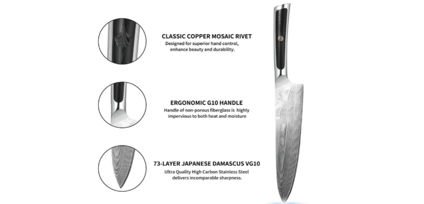 Sunnecko 8 Inch Chef Kitchen Knife Features
