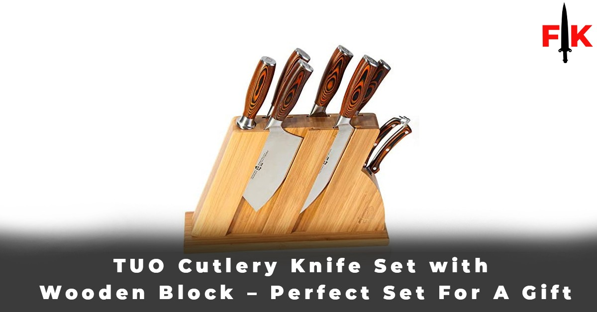 TUO Cutlery Knife Set with Wooden Block